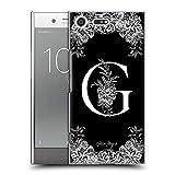Head Case Designs Oficial Nature Magick Letra G B & W Monogram Flores 1 Carcasa rígida Compatible con Sony Xperia XZ Premium