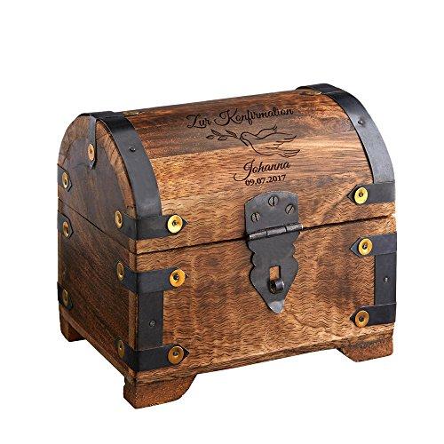 Casa Vivente Große Schatztruhe mit Gravur – Zur Konfirmation – Motiv Taube – Personalisiert mit Namen und Datum – Dunkles Holz – Verpackung für Geldgeschenke – Geschenkideen für Konfirmanden