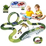 Dinosaur Toys 222pcs Race Track Toy Set - Create A Dinosaur World Road Race, Flexible Track Playset with 2 Race Cars & 2 Dinosaurs, 360° Stunt Loop, Best Gifts for 3 4 5 6 7 8 Year Old Boy & Girls