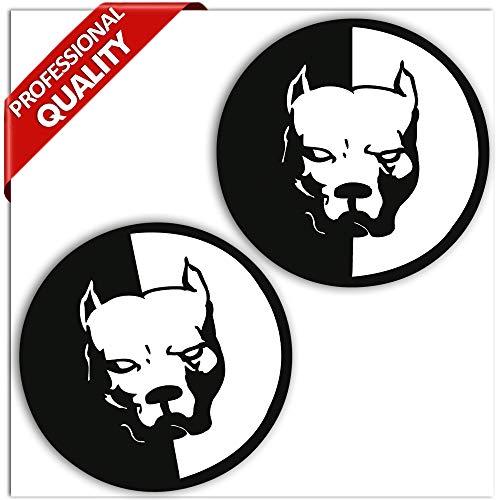 SkinoEu® 2 x Zelfklevende Stickers Vinyl Decal Pitbull Hond Laptop iPad Auto Venster Auto Moto Helm Bike Skate Truck Tuning B 5