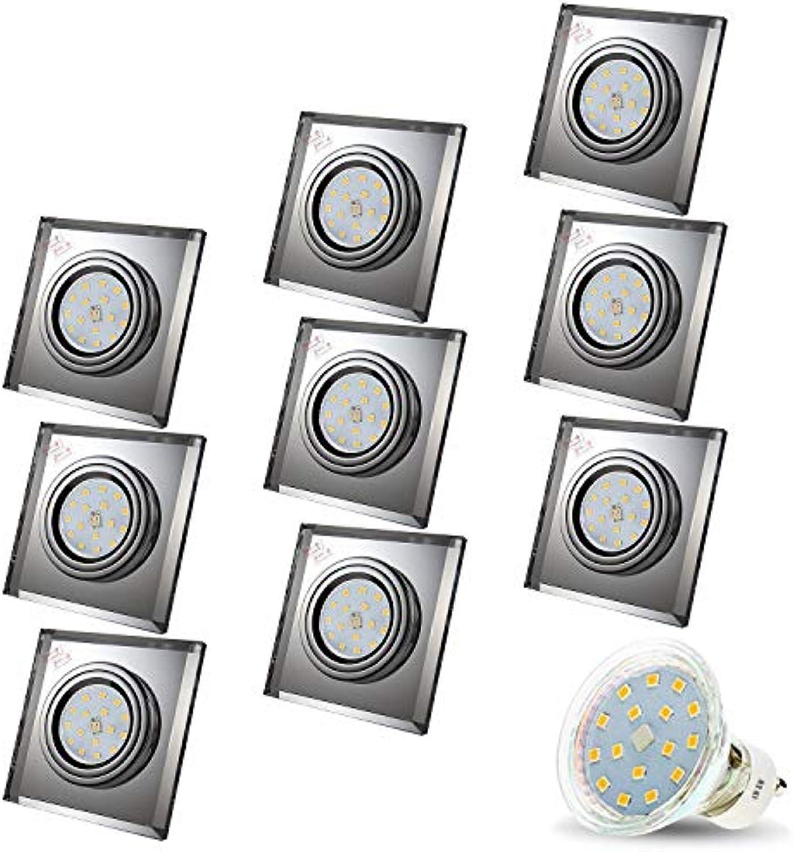 LED Einbaustrahler aus Glas Spiegel Klar CRISTAL Eckig Inkl. 9 x 4W LED Kaltweiss 230V IP20 LED Deckenstrahler Einbauleuchte Deckeneinbaustrahler Einbauspot Deckeneinbauleuchte Deckenspot Clear