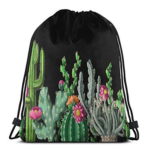 Lsjuee Borde con Cactus y Flores Saco de Gimnasio Bolsa con cordón Bolsa de Viaje Deportiva Mochila Ligera para Gimnasio, Deportes, natación, Yoga