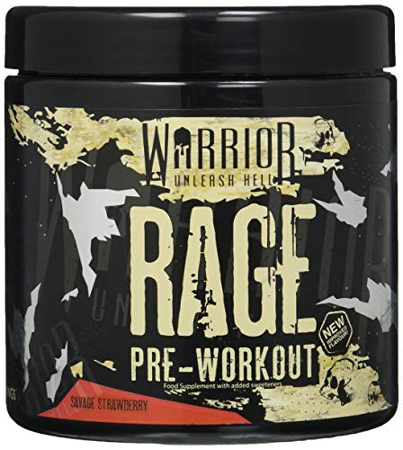Warrior RAGE Pre Workout Supplement Powder 392g - High Caffeine Energy & Focus - 45 Servings - Savage Strawberry