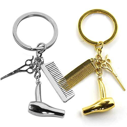 Schlüsselbund Anhänger, 2 Stücke Friseur Schlüsselanhänger, Salon Schlüsselbund, Geschenke für Friseure, Friseursalon Werbegeschenk, Event Preise (Silber und Gold)