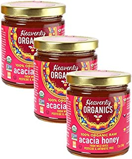 Heavenly Organics 100% Organic Raw Acacia Honey (12 Oz, 3Pack) Lightly Filtered to Preserve Vitamins, Minerals and Enzymes, Made from Wild Beehives & Free Range Bees; Dairy, Nut, Gluten Free Kosher