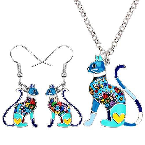 AMINIY Esmalte Aleación Elegante Sentada Gatito Gato Pendientes Collar Joyería For Mujeres Niñas Fiesta Regalos Encanto (Color : Blue)