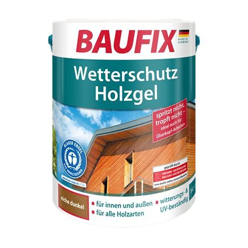 BAUFIX Wetterschutz-Holzgel, Holzlasur eiche dunkel, 5 Liter, tropfgehemmte Holzschutzlasur für innen und außen, atmungsaktiv, für alle Holzarten, UV-beständig, witterungsbeständig