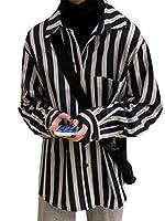 [BSCOOL]ストライプシャツ レディース 長袖 ブラウス ストライプ柄 通勤 シャツ ポロネック ワイシャツ 襟付き フォマール トップス ファッション 春 秋 開襟シャツ オシャレ 胸ポケット付き(黒)