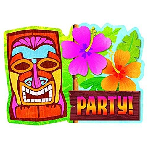Amscan Tiki Party Invitation Cards, 4 7/8