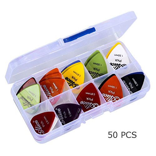 Toolso 50pcs Guitar Picks 1 Box Case Mixed Thickness 132mm68mm23mm Pick Acoustic Electric Guitar Accessories Musical Instrument