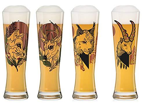 Dekomiro Ritzenhoff Black Label - Set di 4 bicchieri da birra in vetro con panno per la pulizia del vetro