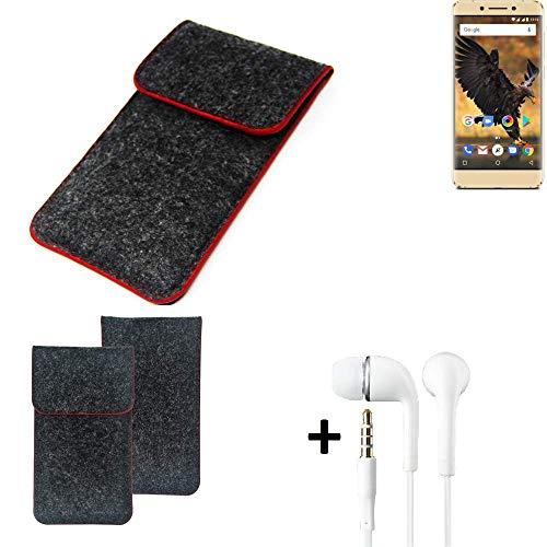K-S-Trade Handy Schutz Hülle Für Allview P8 Pro Schutzhülle Handyhülle Filztasche Pouch Tasche Hülle Sleeve Filzhülle Dunkelgrau Roter Rand + Kopfhörer