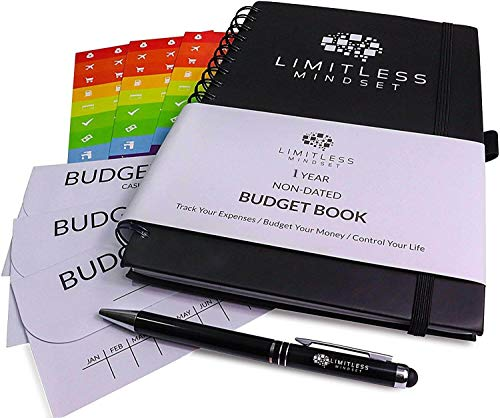 Budget Planner (Non-Dated), Finance Journal, Expense Tracker, Accounts Book, and Bill Organizer - Monthly Budgeting Book Bundled with Cash Envelopes, Stickers, and a Pen - 9x6' Size Black