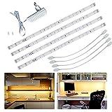 Tiras LED 1.5 M 12V Kit Cinta Flexible Blanco Cálido con Adhesivas para Habitación Armario Gabinete Cocina Escaparate TV...