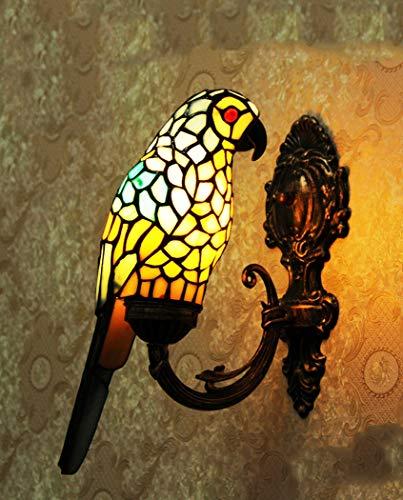 Tiffany-stijl wandlamp van getint glas in Europese stijl retro papegaai kandelaar decoratie voor slaapkamer woonkamer lamp slaapkamer lamp E14