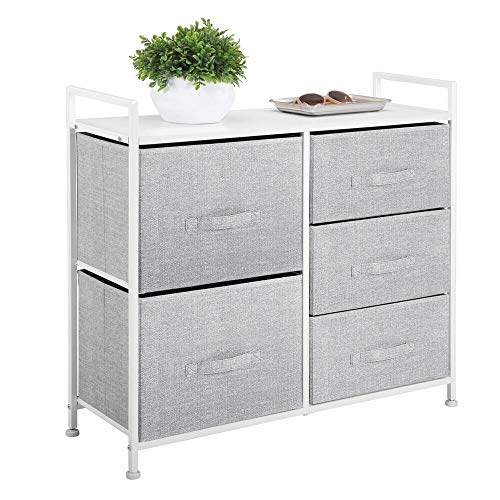 mDesign Wide Dresser Storage Tower - Sturdy Steel Frame, Wood Top, Easy Pull Fabric Bins - Organizer Unit for Bedroom, Hallway, Entryway, Closets - Textured Print - 5 Drawers, Gray/White
