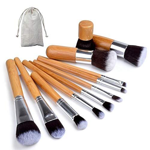 QWK Make-up Pinsel Set mit Tasche kosmetische Grundlage flüssige Make-up Pinsel Werkzeug für rosa erröten Lidschatten, 11 Stück mit Tasche
