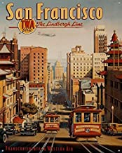 3Gold iron Poster San Francisco Trolley Metal Sign by Kerne Erickson, Iron Painting 8X12 INCH