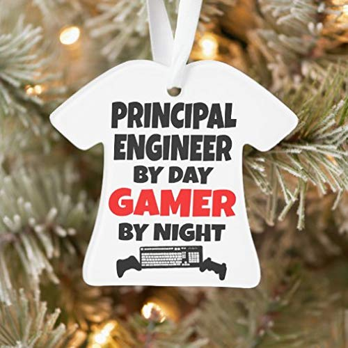 onepicebest Christmas Ornaments 2020 Principal Engineer by Day Gamer by Night Ornament, Decorating Hanging Ornaments Christmas Party Decor Xmas Gift, T-Shirt Shape