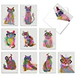 deck of white cards with beautiful watercolor, rainbow cats on them