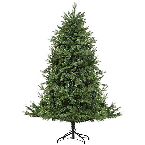 HOMCOM Künstlicher Weihnachtsbaum 1,8 m Christbaum Tannenbaum 1853 Äste Metallfuß PVC PE Grün Ø127 x 180H cm