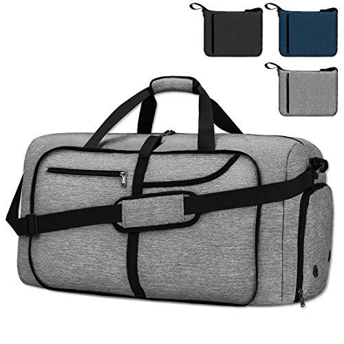 NEWHEY Bolsa de Viaje 65L Plegable Ligera Bolsa Deporte Hombre Impermeable Bolsa Fin de Semana con Compartimento Zapatos para Mujeres (gris-40L)