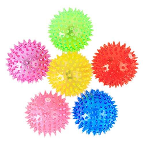 Bola de juguete para perros con luces LED intermitentes, juguete para atrapar y jugar con espiga, bola de goma para aliviar el estrés, juguete para perros