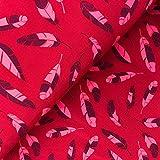 Glünz Softshell Federn rot - Stoff - Meterware - 0,5m x VB