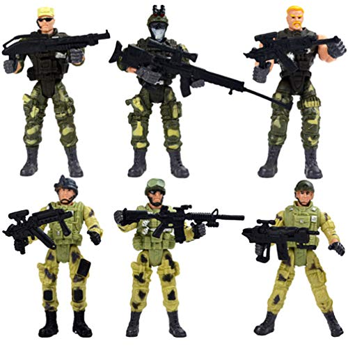 TOYANDONA 6pcs Special Forces Action Figures, Soldier Action Figures Military Toy Soldiers Playset with Accessories (A Pattern)