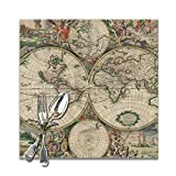Set di 6 tovagliette quadrate per la Decorazione della tavola della Cucina della Sala da Pranzo, tovagliette con Stampa della Mappa del Mondo Antico Lavabili