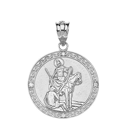 925 Sterling Silver St. Martin Of Tours Round Medal CZ Pendant (1.15