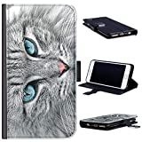 Hairyworm - Grey cat with blue eyes HTC Desire 626 leather