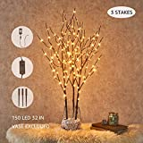 Hairui Pre Lit Artificial Brown Twig Branch with Fairy Lights 32in 150 LED Plug in Lighted Willow Branch for Christmas Easter Wedding Spring Decoration Indoor Outdoor Use (Vase Excluded)