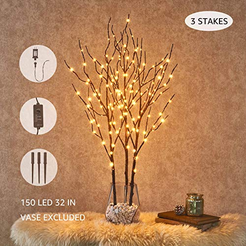 Hairui Tabletop Lighted Brown Branch Decor with Fairy Copper Lights 32inch 150LED, Pre-lit Twig Branch Tree Lights for Indoor Outdoor Home Christmas Garden Party Wedding Decoration Lights 3 Pack