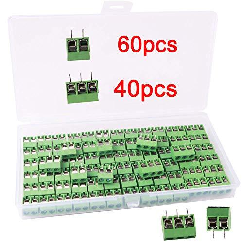 RUNCCI-YUN 100 Pezzi 5mm 2 Pin / 3 Pin Morsettiera a Vite PCB Blu per Prototipo PCB Scheda Circuito Stampato (60pz 2 Pin, 40pz 3 Pin)