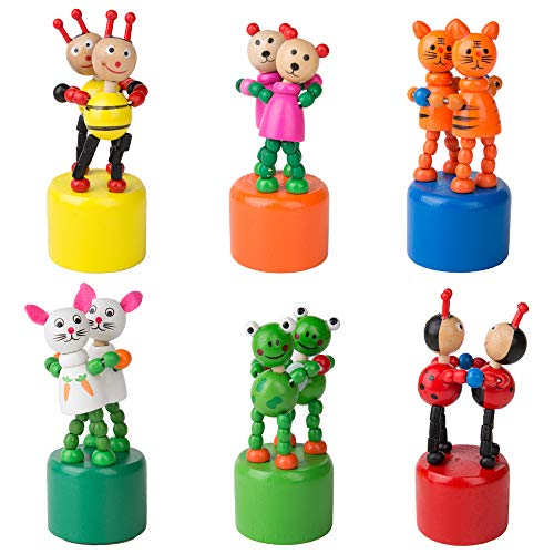 PROLOSO Push Puppet Finger Puppets Thumb Puppet Press Base Toys Push Up Wooden Cartoon Figures 6 Pcs