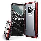X-Doria Galaxy S9 Funda, Defense Shield de Protección Marco de Aluminio Funda Diseño Fino Antichoque Transparente Funda para Samsung Galaxy S9 - Rojo