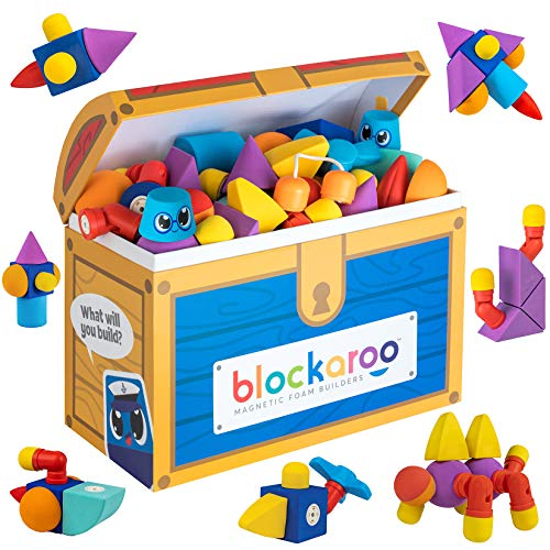 Blockaroo Magnetic Foam Building Blocks - STEM Construction Toys for Boys and Girls, Soft Foam Blocks Build Early Learning Skills, Great Bath Toys for Toddlers & Kids – 100 Piece Set with Toy Chest