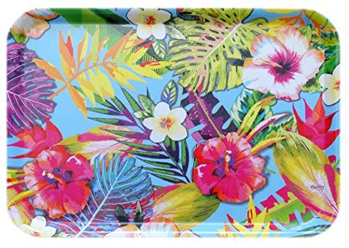 Lashuma Bandeja para vasos de melamina, bandeja decorativa multicolor, con impresión: Tropical,...