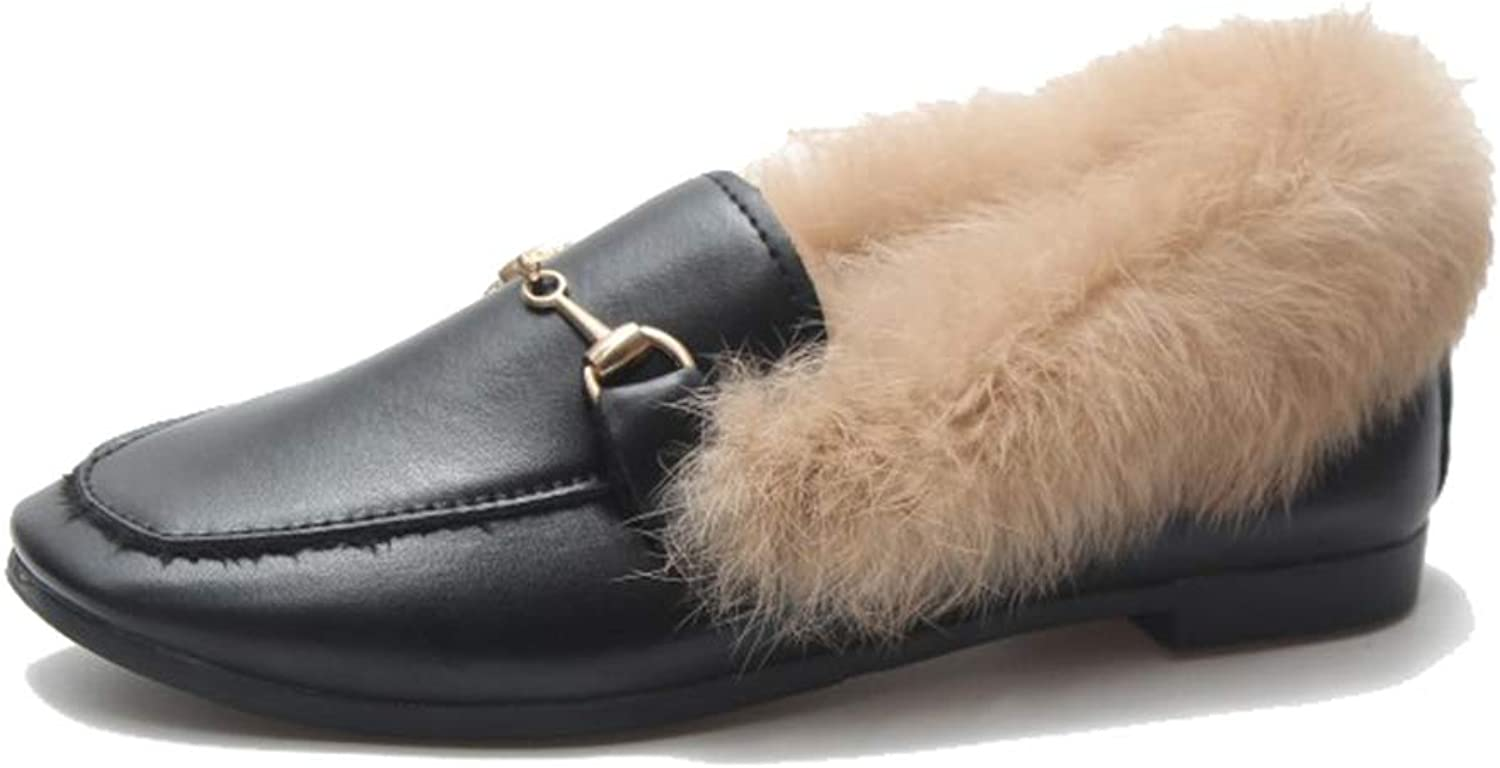 August Jim Women Winter Flats shoes,Slip-on Round Toe Fur Single shoes Slipper