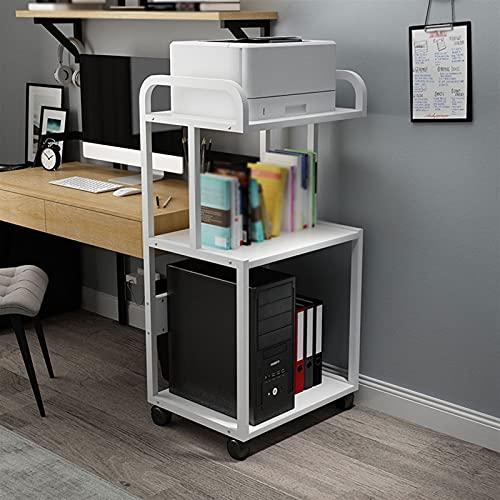 Soporte escritorio para soporte de impresora Marco de metal de soporte de la impresora del piso de 3 capas, escritorio de la impresora móvil, para la sala de estar de la oficina. Estante de escritorio