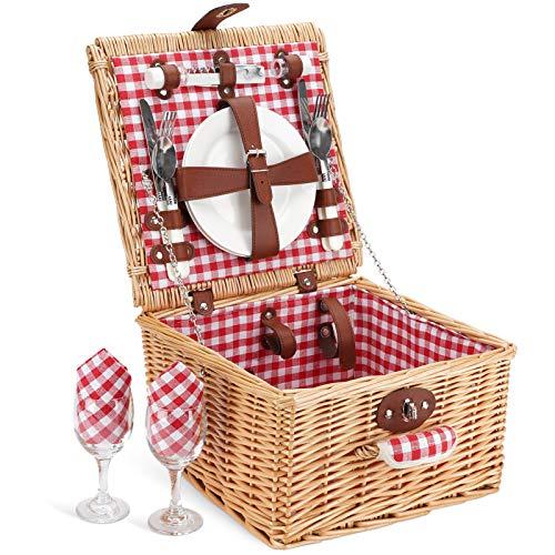 ZORMY Picnic Basket for 2 Person, Durable Wicker Picnic Hamper Set,...