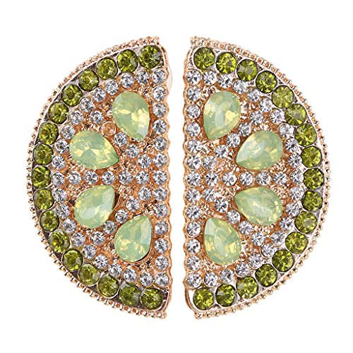 Adoráveis brincos de cristal com strass e orelhas de frutas para mulheres e meninas joias charmosas verde