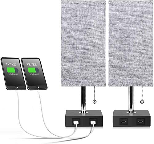 CCLLA Lámpara de mesita de Noche USB, lámpara de Escritorio Simple para Dormitorio, Sala de Estar, luz con 2 Puertos de Carga USB y Salidas de CA Pantalla de Tela E27 con lámpara de mesita de Noch