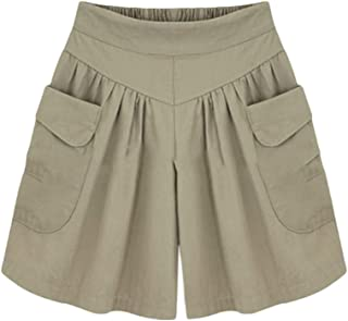 Bestwo Women's Wide Leg Shorts Pleated Elastic High Waist Casual Short with Pockets