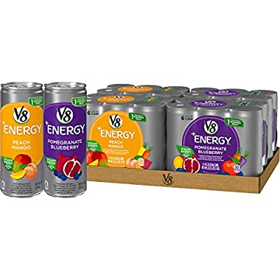 V8 +Energy Diet Variety Pack, Healthy Energy Drink, Diet Cranberry Raspberry and Diet Strawberry Lemonade