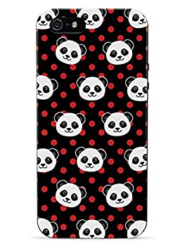 Inspired Cases - 3D Textured iPhone 5c Case - Rubber Bumper Cover - Protective Phone Case for Apple iPhone 5c - Cute Panda Pattern - Red Polka Dots - Black