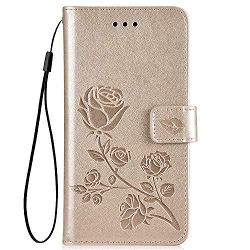 Hpory Kompatibel mit Galaxy S3 Hülle, Samsung Galaxy S III Neo Handyhülle Retro Muster PU Leder mit Handschlaufe Strap Geldbörse Wallet Case Cover Schutzhülle Tasche + 1 x Hpory Stylus - Rose Gold