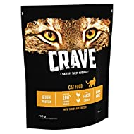 Crave Dry Cat Food Natural for cats – High Protein & Grain-Free – Turkey & Chicken, 4x 750g