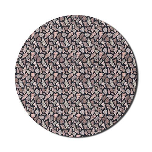Runde Matte, Muscheln Mauspad für Computer, handgezeichnete Muscheln in braunen Farbtönen Aquatische Molluskenmotive Ocean Marine Theme, rundes rutschfestes Gummi-Mousepad mit moderner Basis, mehrfarb